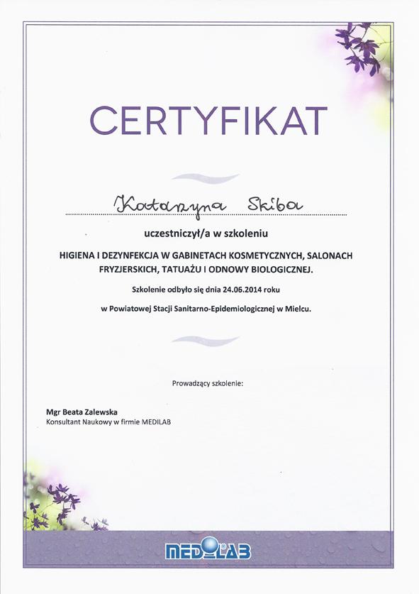 Gabinet Kosmetyczny Prestiż Certyfikaty Radomyśl Mielec Dębica
